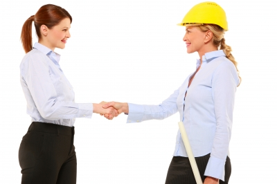 Urban Planner woman shaking hands