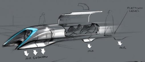 Elon Musk's sketch of the Hyperloop transportation pod