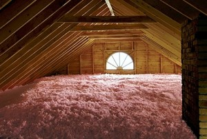 Loose fill insulation in an attic