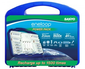 Sanyo Eneloop Power Pack Rechargeable Battery Kit comes with batteries, charger and handy case
