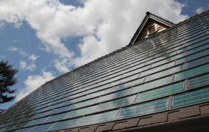 Good example of solar shingles installed on a home