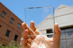 Researchers are perfecting a window material made with this transparent solar cell