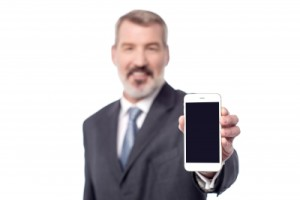 Businessman with New Cell Phone