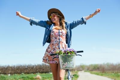 woman happy about biking